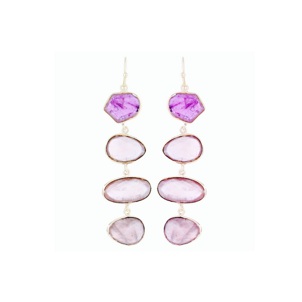 Liya Long drop multistone earrings - Pink/Purple