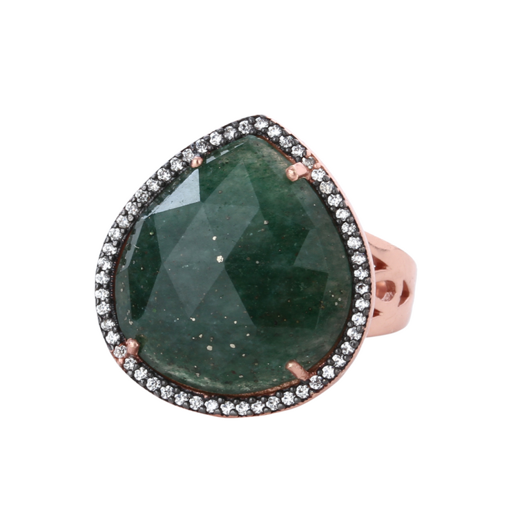 Statement green aventurine ring