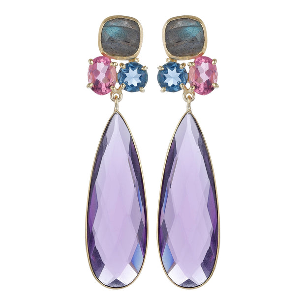 Gayu Floral Earrings - Purple