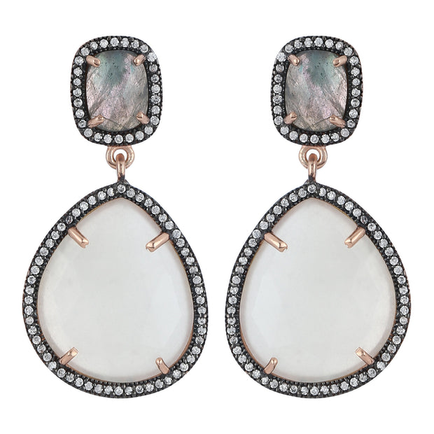 Alluring drop earrings - grey labradorite and white moonstone