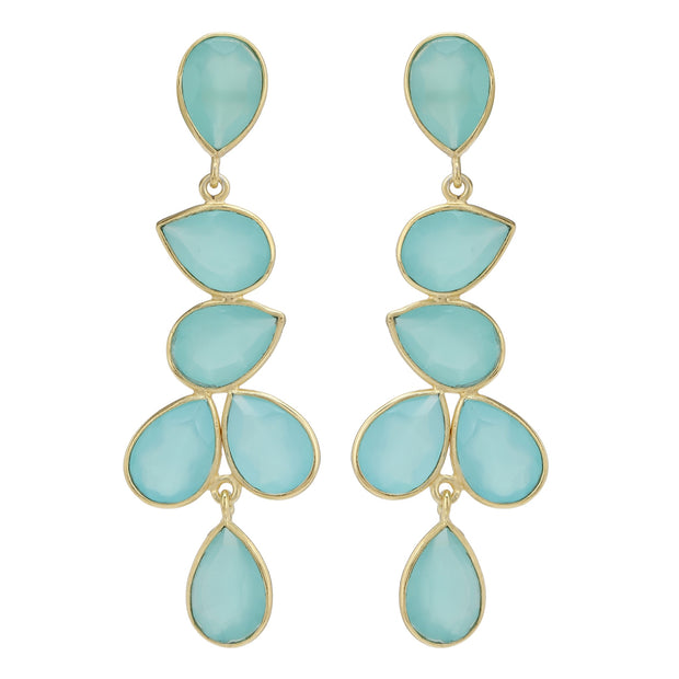 Naya Chandelier earrings - Green Chalcedony