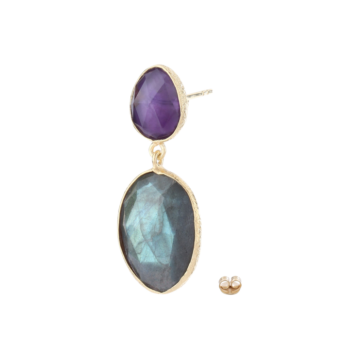 Stylish double drop earrings - amethyst and labradorite
