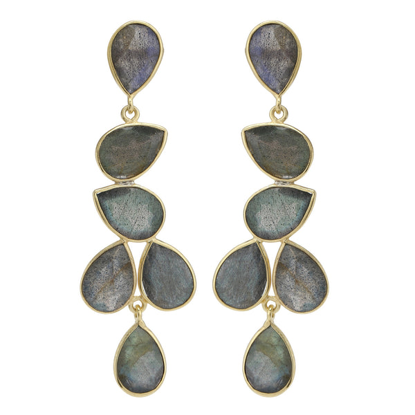 Naya Chandelier earrings - Grey Labradorite