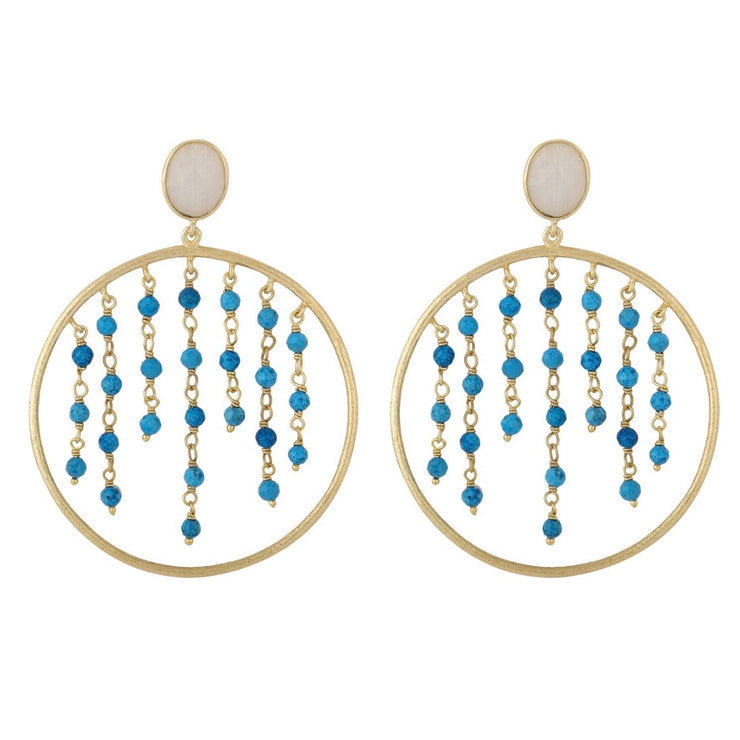 Rini Beaded Hoop Earrings - Turquoise
