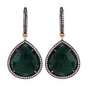 String drop hook earrings - jade