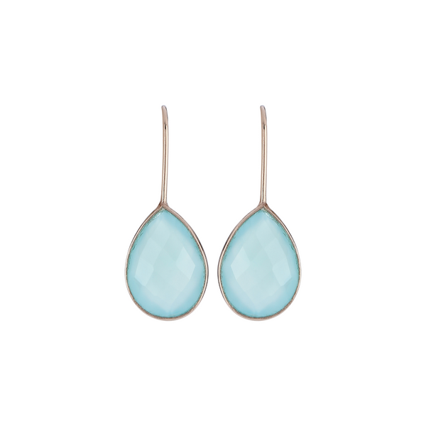 Nanhi hook earrings - aqua chalcedony