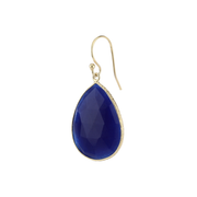 Drop stone hook earrings - lapis lazuli