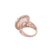 Statement rose quartz ring