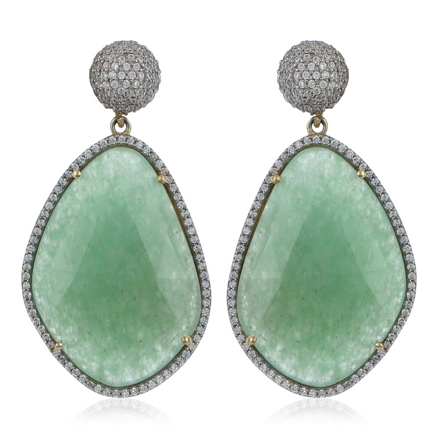 Glamorous Chandelier Earrings - Green Aventurine