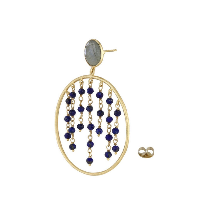 Rini Beaded Hoop Earrings - Lapis Lazuli