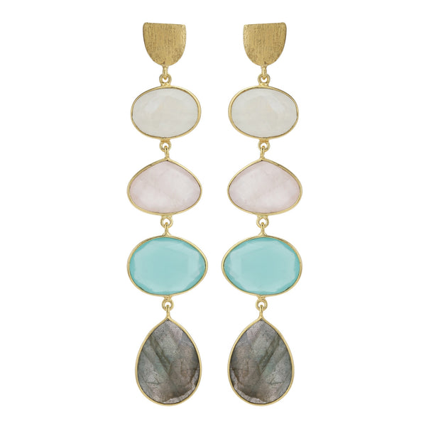 Rainbow Long Multistone Pastel Earrings