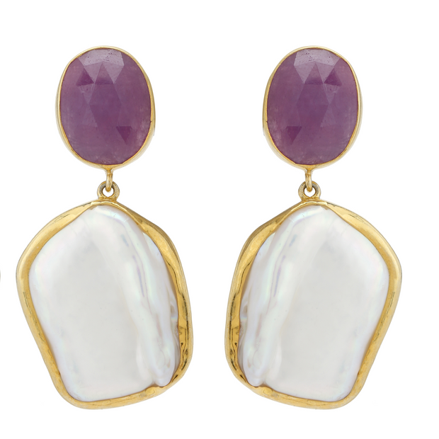 Baroque pearl and pink sapphire earrings