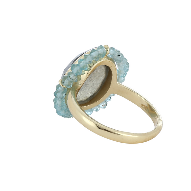 Labradorite beaded ring