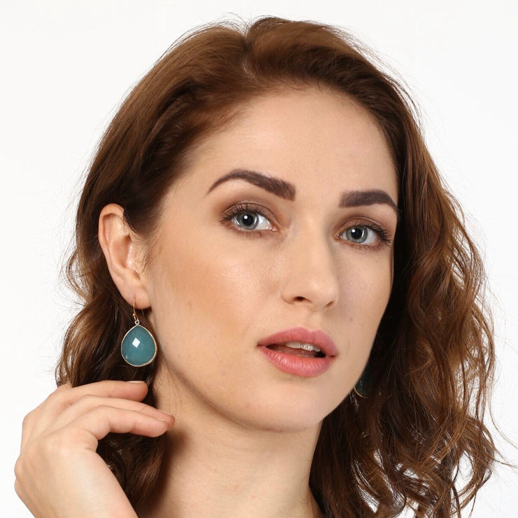 Drop stone hook earrings - green aventurine