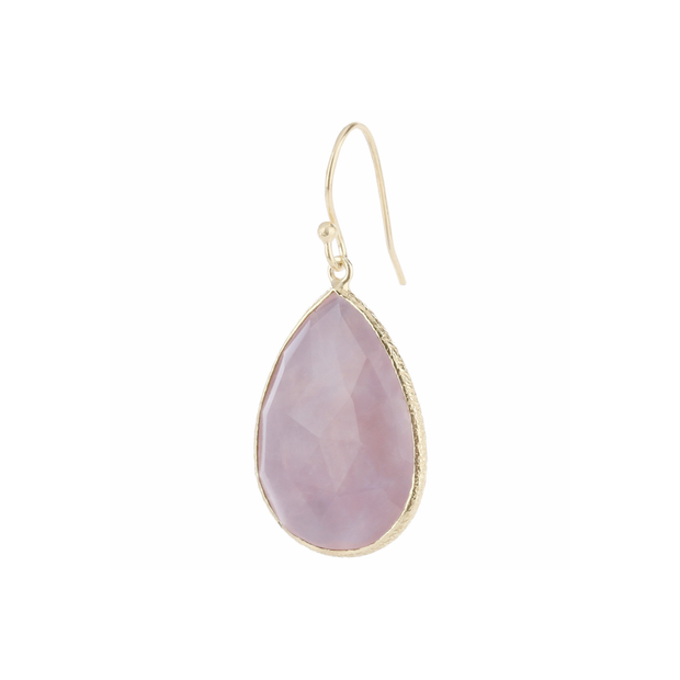 Drop stone hook earrings - rose quartz