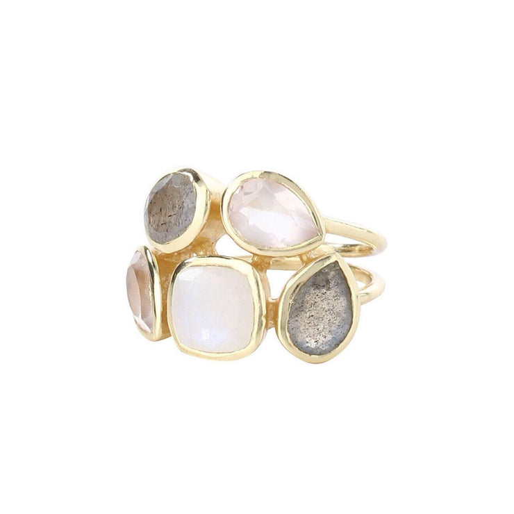 Stylish stacked grey labradorite multistone ring