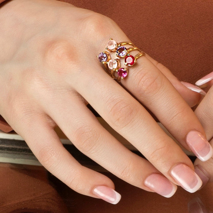 Pink Cluster Ring