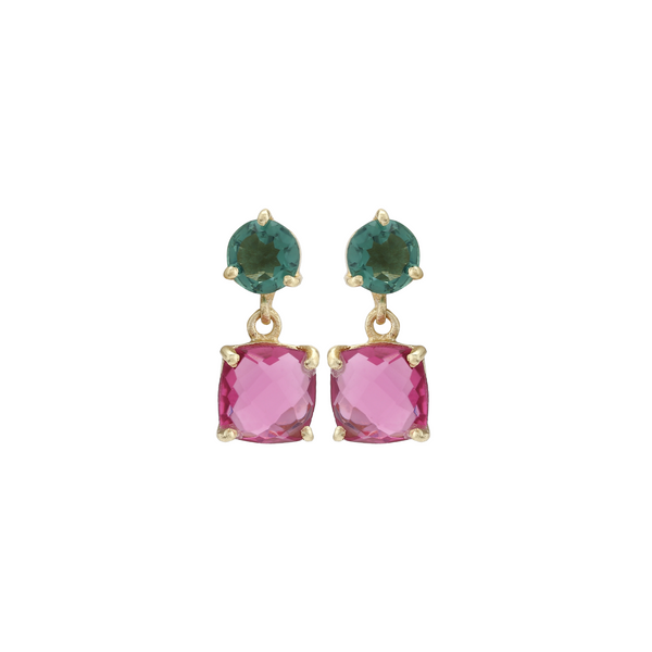 Rangoli Drop Earrings - Pink and Green