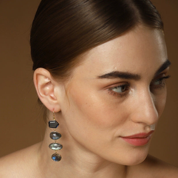 Liya Long drop multistone earrings - Blue/Grey