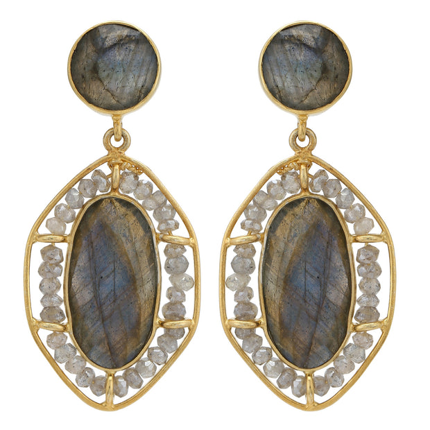 Tara beaded earrings - Grey Labradorite
