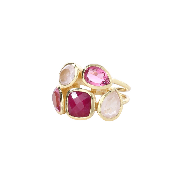 Stylish stacked pink/red multistone ring