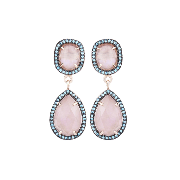 Dainty double drop earrings, rose quartz