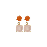 Rangoli Drop Earrings - Peach and Pink