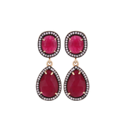 Dainty double drop earrings, ruby