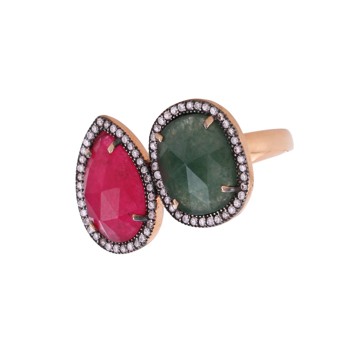 Ruby and jade ring