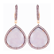 String drop hook earrings - rose quartz