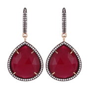 String drop hook earrings - ruby