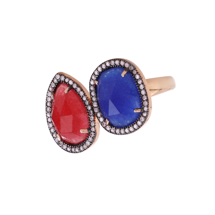 Ruby and lapis lazuli ring