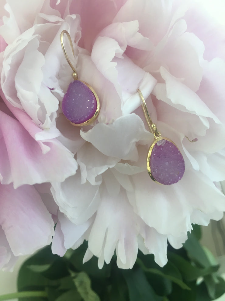 Nanhi hook earrings - amethyst druzy