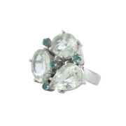 Cocktail green amethyst and emerald ring
