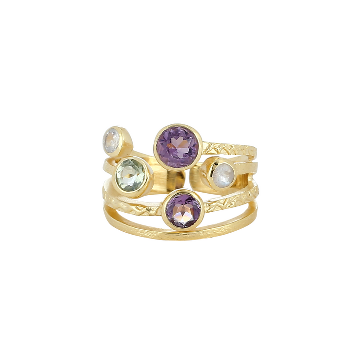 Lilac stacked multistone ring