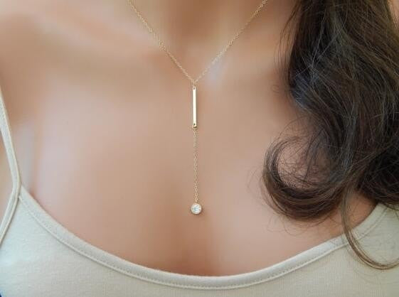 Elegant Crystal Drop Pendant Necklace