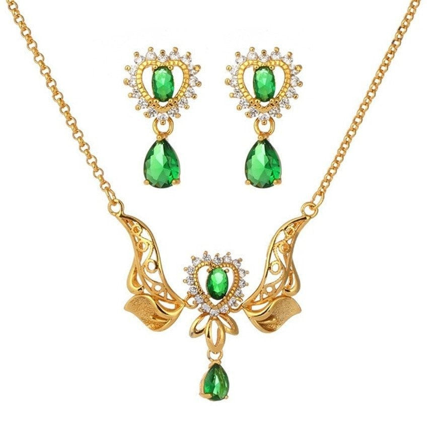 Emerald Angel Diamond Jewelry Set