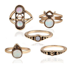 Lunar Gem 5 Piece Opal Rings Set