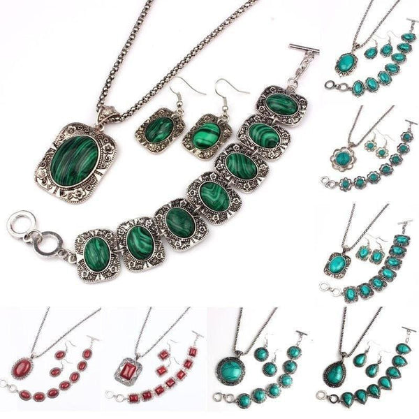 Natural Stone Gemstone Jewelry Set