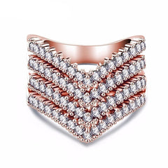 Quad V Shape Austrian Crystal Ring