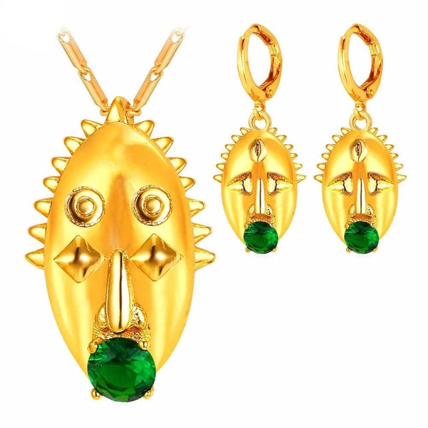 Tribal Emerald Gold Jewelry Set
