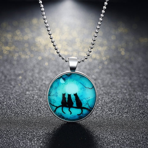 Dark Luminous Cats Necklace