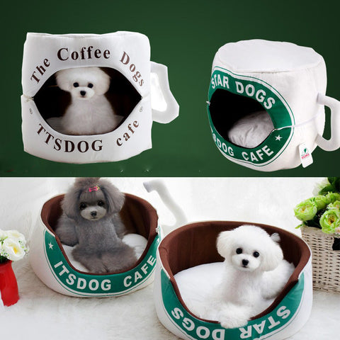 Coffee Cup Pet Bed with Removable Cushion - Purrrfect For Pets