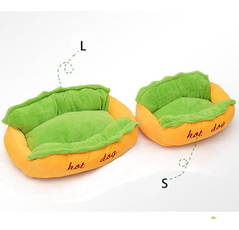 Hot Dog Pet Bed with Removable and Washable Cushion - Purrrfect For Pets