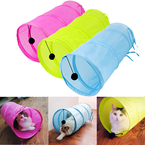 Collapsible Crinkle Pet Tunnel with a Toy Ball