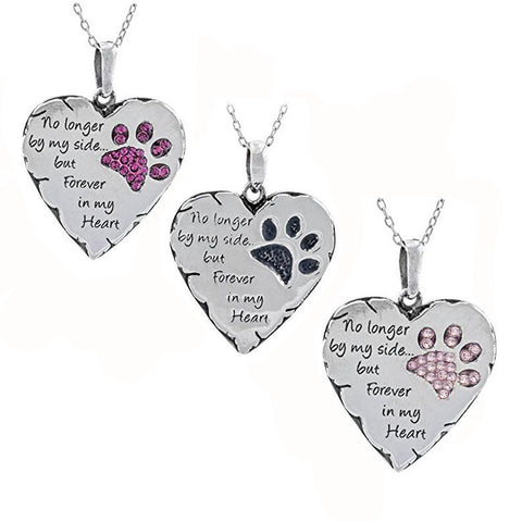 Pet Memorial Heart and Crystal Paw Print Pendant Necklace- No longer by my side - Purrrfect For Pets