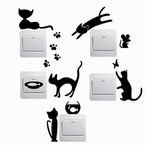 1 pcs Removable Cute Light Switch Wall Vinyl Sticker. - Purrrfect For Pets