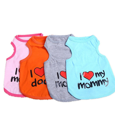 I Love My Mommy, Daddy Doggie T-Shirt - Purrrfect For Pets