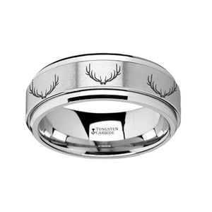 Hunter Reindeer Stag Antlers Engraving Tungsten Spinner Ring