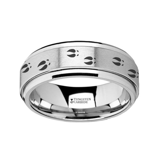 Deer Footprints Tungsten Spinner Ring with Engraving